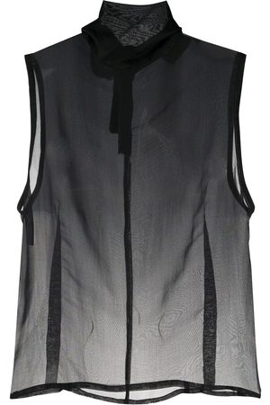 ANN DEMEULEMEESTER Sheer roll neck silk top