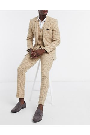 ASOS Wedding skinny wool mix suit trousers in camel houndstooth check