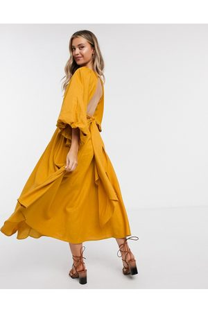 ASOS Extreme sleeve linen midi dress in mustard