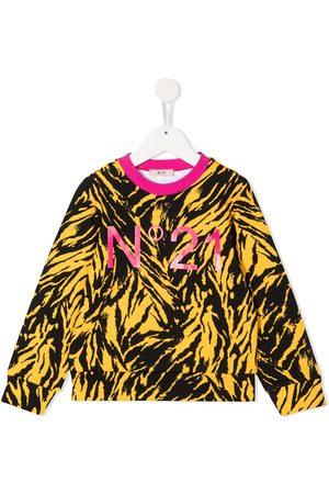 Nº21 Tiger-print logo sweatshirt