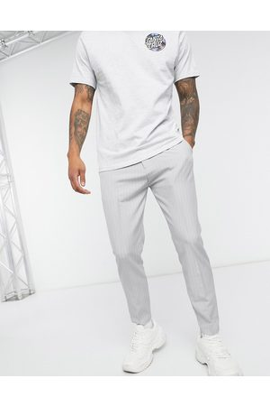 Mauvais Pinstripe trousers with logo webbed belt in