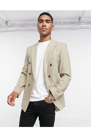 ASOS Super skinny double breasted wool mix twill blazer in