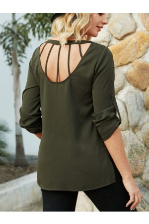 YOINS Army Green Backless Design Round Neck Long Sleeves Blouse