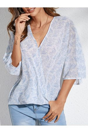 YOINS Blue Calico Deep V Neck 3/4 Length Sleeves Blouse