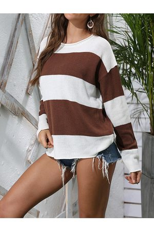 YOINS Crew neck Striped Pullover Sweater