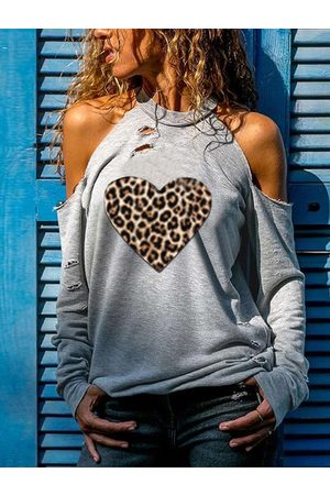 YOINS Grey Leopard Heart Ripped Cold Shoulder Long Sleeves Tee