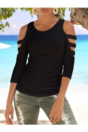 YOINS Black Cut Out Cold Shoulder 3/4 Length Sleeves Tee