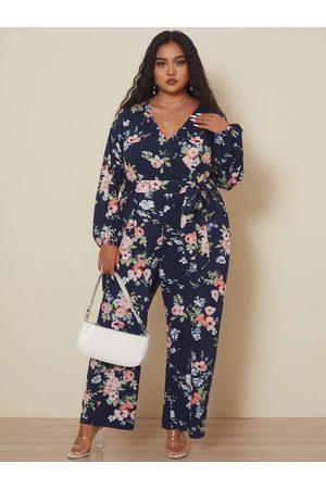 YOINS Plus Size V-neck Floral Print Wrap Design Self-tie Design Long Sleeves Jumpsuit