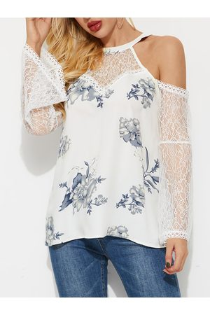 YOINS White Lace Insert Patchwork Cold Shoulder Bell Sleeves Blouse