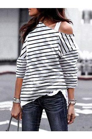 YOINS Stripe Design One Shoulder Long Sleeves Sweatshirt