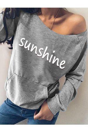 YOINS Grey Letter Print Round Neck Long Sleeves Sweatshirt
