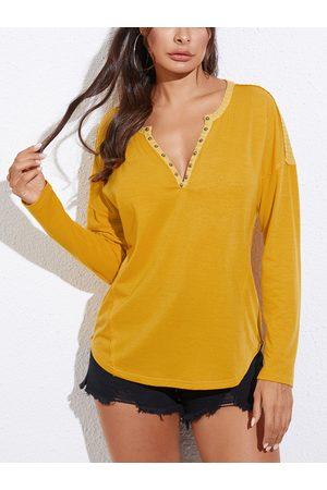 YOINS Yellow Button Design V-neck Long Sleeves Tee