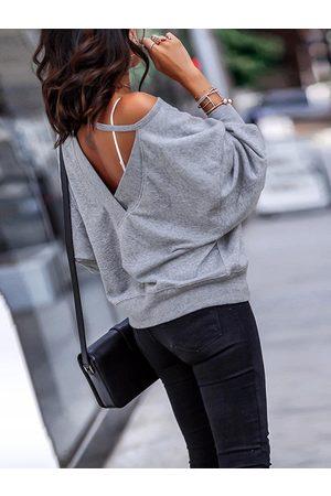 YOINS Backless Design Round Neck Sweatshirt