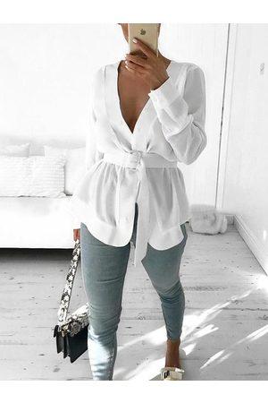 YOINS White Belt Design Deep V Neck Long Sleeves Blouse
