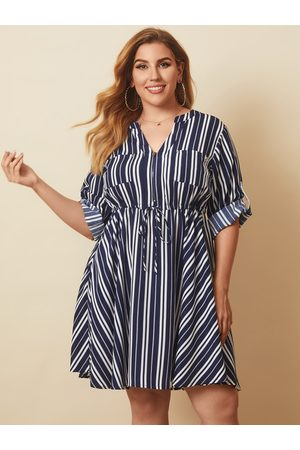 YOINS Plus Size V-neck Striped Tie-up Design Long Sleeves Mini Dress