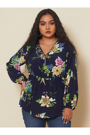 YOINS Plus Size V-neck Floral Print Zip Design Long Sleeves Blouse