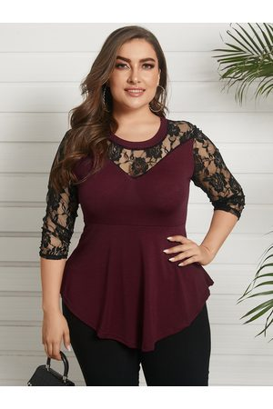 YOINS Plus Size Claret Round Neck Lace 3/4 Length Sleeves Blouse