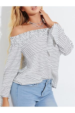 YOINS White Striped Off The Shoulder Long Sleeves Blouse