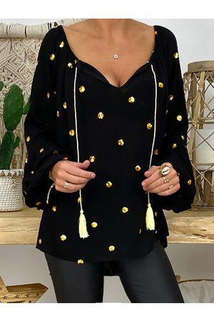 YOINS Polka Dot Tassel Details V-neck Long Sleeves Blouse