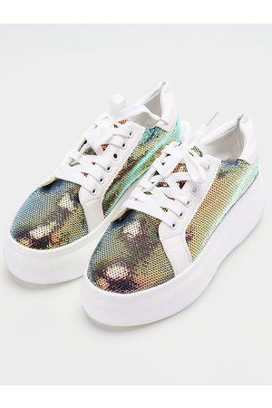 YOINS Sequin Lace Up Casual Shoes