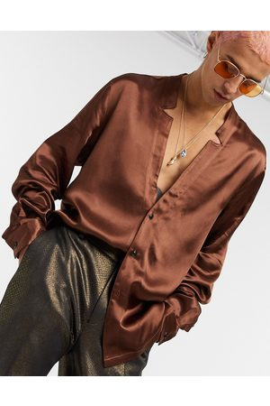 ASOS Regular shirt with notch neck detail in satin