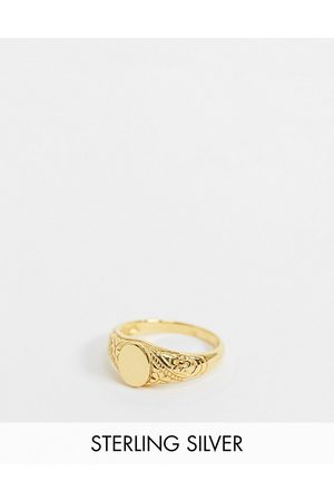 ASOS Sterling silver signet ring with vintage design in 14k plate