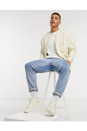 ASOS Oversized towelling shirt with grandad collar in