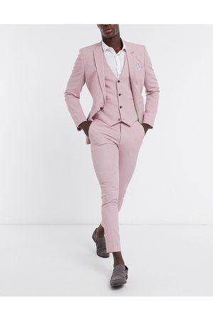 ASOS Wedding super skinny suit trousers in rose cross hatch