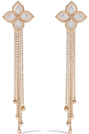 Roberto Coin 18kt rose gold Princess Flower mother-of-pearl and diamond earrings
