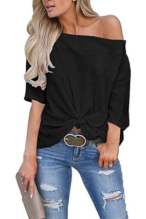 YOINS Black Twist One Shoulder Long Sleeves Knit Top
