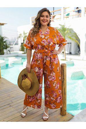 YOINS Yellow Belt Design Floral Print V-neck Half Sleeves Jumpsuit