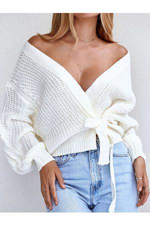 YOINS Women Long Sleeve - White Tie-up Design Deep V Neck Long Sleeves Sweater