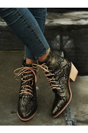 YOINS Women Lace-up Boots - Casual Lace-up Boots