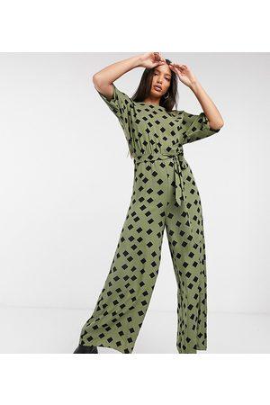 ASOS Tall ASOS DESIGN tall tie waist jumpsuit in khaki graphic print-Multi