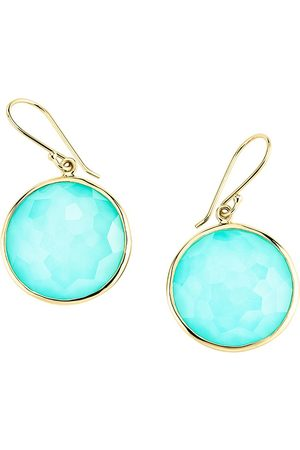Ippolita 18kt yellow Lollipop turquoise and clear quartz earrings