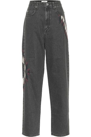 Isabel Marant, Étoile Corsyb embroidered high-rise straight jeans