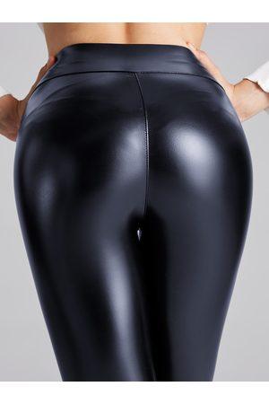 YOINS Navy Super Stretch Faux Leather Leggings