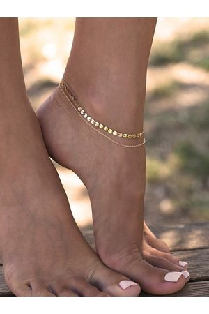 YOINS Sequins embellished Copper Chain Double-layer Anklets