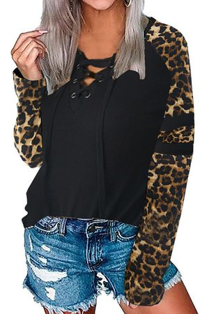 YOINS Women Long Sleeve - Black Leopard Lace-up Design V Neck Long Sleeves Tee