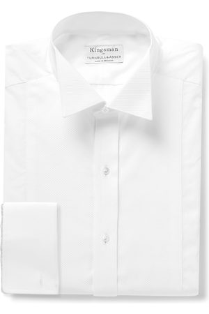 KINGSMAN Turnbull & Asser Wing-Collar Piqué-Panelled Cotton Shirt