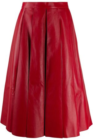 Alexander McQueen Pleated leather midi skirt