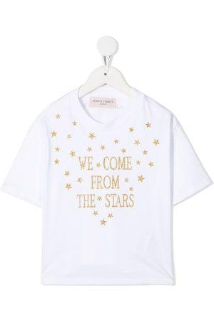 Alberta Ferretti Glitter slogan print T-shirt