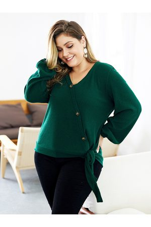 YOINS Plus Size V-neck Knotted Long Sleeves Knitwear