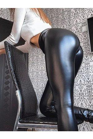 YOINS Black Super Stretch Faux Leather Leggings