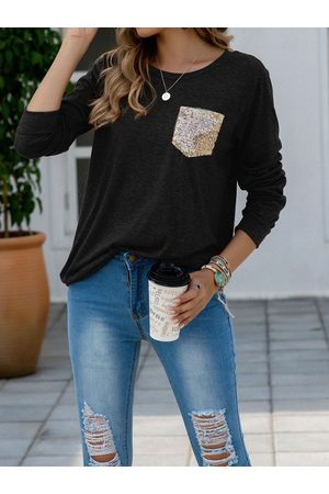 YOINS Sequins Crew Neck Long Sleeves Tee