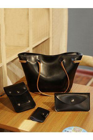 YOINS 4 PCS Faux Leather Multi-function Handbag Crossbody Bag Solid Shoulder Bag