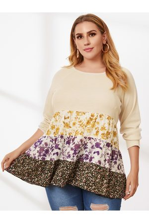 YOINS Plus Size Patchwork Floral Print Long Sleeves Tee