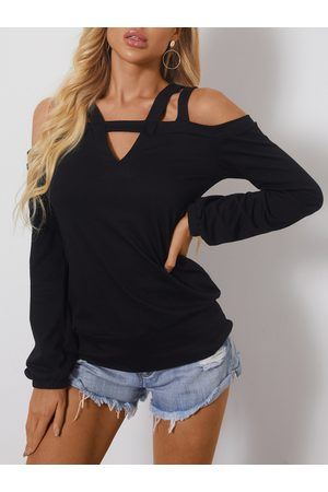 YOINS Black Cold Shoulder Long Sleeves Tee