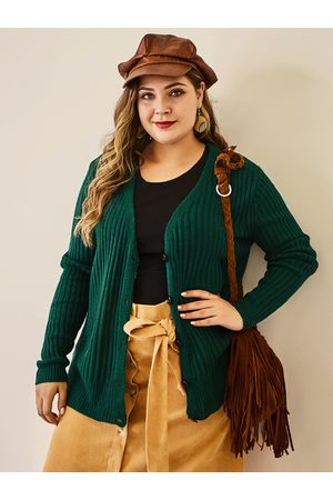 YOINS Plus Size Green Long Sleeves Knitwear