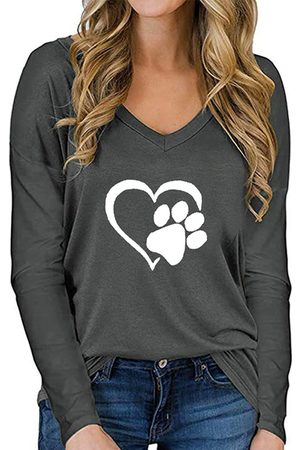 YOINS Heart Print V-neck Long Sleeves Tee